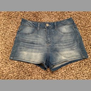 Faded Light Wash Jean Shorts